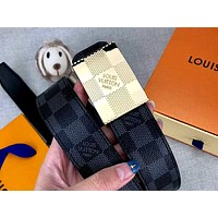 LV 2019 new classic checkerboard men and women models smooth buckle belt Gold