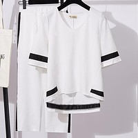 Casual Two Piece Set Women Summer Contrast Color Short Sleeve V-neck Loose Tops +side Striped Wide Leg Pants Suits