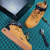 Nike Air Force 1 07 Mid Utility Pack Wheat Black Fashion Shoes - Best Online Sale