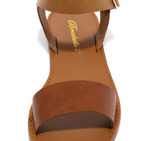 Hearts and Hashtags Tan Flat Sandals