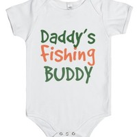 Daddy's fishing buddy-Unisex White Baby Onesuit 00