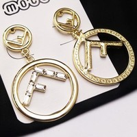FENDI Stylish Women Chic Circle F Letter Pendant Earrings Accessories Jewelry