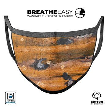 Abstract Wet Paint Dark Gold - Made in USA Mouth Cover Unisex Anti-Dust Cotton Blend Reusable & Washable Face Mask with Adjustable Sizing for Adult or Child