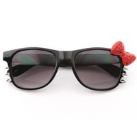 zeroUV - Womens Fashion Bling Hello Kitty Bow Whiskers Sunglasses with Rhinestones