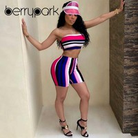 BerryPark Colourful Stripe Sportswear 2019 Summer Workout Clothes Women Bra + Shorts Yoga Set Gym Suit Sport Wear Fitness Outfit