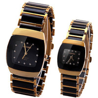 Trendy Quartz Watch with Ceramics and Steel Watchband for Couple
