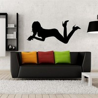 ik2217 Wall Decal Sticker silhouette sexy girl living room bedroom