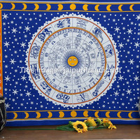 Twin Horoscope Tapestry, Indian Zodiac Astrology Tapestry, Hippie Tapestry Bohemian Artn Twin Wall Hanging Hippie Bedspread, Beach Throw