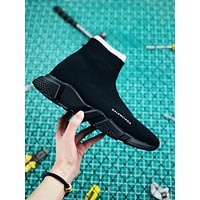 Balenciaga Stretch In Black Knit Speed Trainers With Black Textured Sole Sneaker