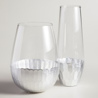 Faceted Silver Stemless Glassware