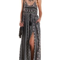Mixed Print Drawstring Empire Waist Maxi Dress