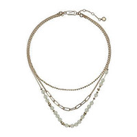 """French Connection 3 Row Beaded Necklace 15"""""""