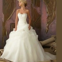 Hot Vestido De Noiva A Line Bridal Gown Sweetheart Beading White / Ivory Wedding Dresses OW 3199