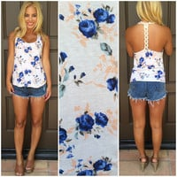 Wild Roses In Bloom T-Back Tank - IVORY
