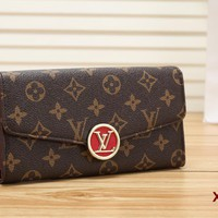 """Louis Vuitton"" Women Tartan Multicolor Logo Letter Long Section Purse Fashion Flip Wallet"