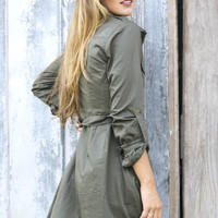A Concrete Jungle Olive Long Sleeve Button Down Shirt Dress