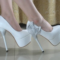 Glitter Bows Ankle knot Stiletto High Heels Evening Party Wedding shoes