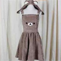 Kawaii Rilakkuma Jumpsuit Dress Cute Bear Embroidery Lolita Overall Skirt & Hat