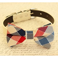 Plaid Dog Bow tie attached to collar, Dog birthday gift, Pet wedding accessory , Wedding dog collar