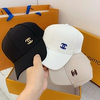 """""""Chanle"""" Unisex  Simple Classic Letter Logo Embroidery Baseball Cap Couple Casual Peaked Cap Sun Hat"""