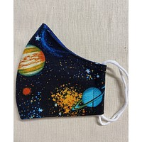 3 Layer Colorful Space Planet Full Face Cup Shaped Mask | Cotton Mask with Elastic