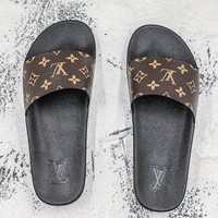 Louis Vuitton Waterfront Mule Sandals Black Brown Slides Slippers