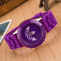 Jelly Silicone Fashion Leaf Grass Sports Brand Watch