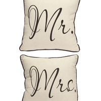 Mr. and Mrs. Throw Pillow Set
