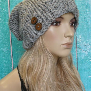 Slouchy Beanie Hat Winter Hand Knit Oatmeal Gray Tweed Woodsy With Wood Buttons
