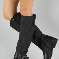 NB200-49 Buckle Zigzag Print Riding Knee High Boot