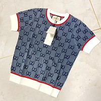 GUCCI Classic Contrast Jacquard Pullover Top T-Shirt blue