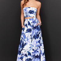Strapless Top with High Waisted Maxi Skirt