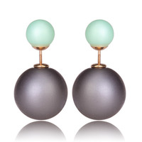 Mise en Gum Tee Style Tribal Earrings  - Matte Ash Gray and Green