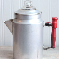 Vintage Aluminum Coffee Pot Percolator, Rustic Farmhouse or Camping Coffee Pot, Blue Ribbon Sterling Aluminum Company, Toronto Canada