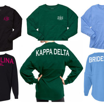 Custom Spirit Jersey - Spirit Shirt - Multiple Colors - Custom Design - Long Sleeve Shirt - Monogram Spirit Jersey - Pom Pom Jersey