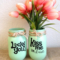 St. Patrick's Day 2 Mint Green Hand Painted Mason Jars- Pencil Holder-Vase-Home Decor-Party Decor-Pint Size