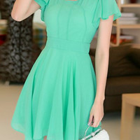 Water Blue Short Sleeve Chiffon Mini Dress