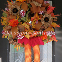 XL Wreath, Fall Wreath, Thanksgiving decoration, Turkey wreath, Wreath for door, Front door Wreaths, Only 2 available