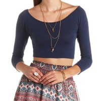 Cross-Back Knit Crop Top by Charlotte Russe