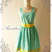 NEW Amor Vintage 50's Rockabilly Inspired Pastel Blue and Yellow Polka Dot Love Vintage Red Belt -Fit Size M-
