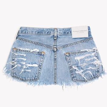 Vintage Distressed Denim Skirt