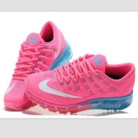 NIKE Trending Fashion Casual Sports Shoes AirMax Toe Cap hook section knited Pink white hook