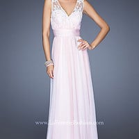 Long V-Neck Prom Gown by La Femme