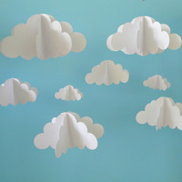 SALE!!!! Two Separate Hanging Cloud Mobiles, Hanging Baby Mobile, 3D Paper Mobile, Nursery Mobile, Baby mobile