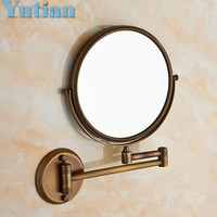 """Antique 8"""" Double Side Bathroom Folding Brass Shave Makeup Mirror Wall Mounted Extend with Arm Round 1x3x Magnifying YT-9102"""