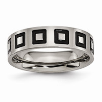 Men's Titanium Enameled Flat Polished Wedding Band Ring: RingSize: 6