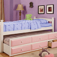 Nantucket Pink and White Twin Combo Captains Bed