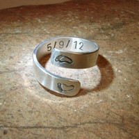 Sterling silver bypass ring for a new mom stamped with that special date