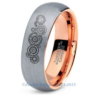 Dr. Who Gallifreyan Ring Tungsten Wedding Band Ring Mens Womens Domed Brushed 18K Rose Gold Geek Anniversary Engagement ALL Sizes Available