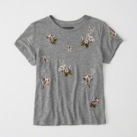 Womens Floral Embroidery Tee | Womens Tops | Abercrombie.com